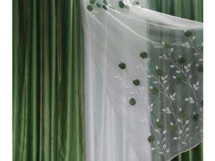Net Embroidered Flowers Print Curtain (3 Pcs Set)